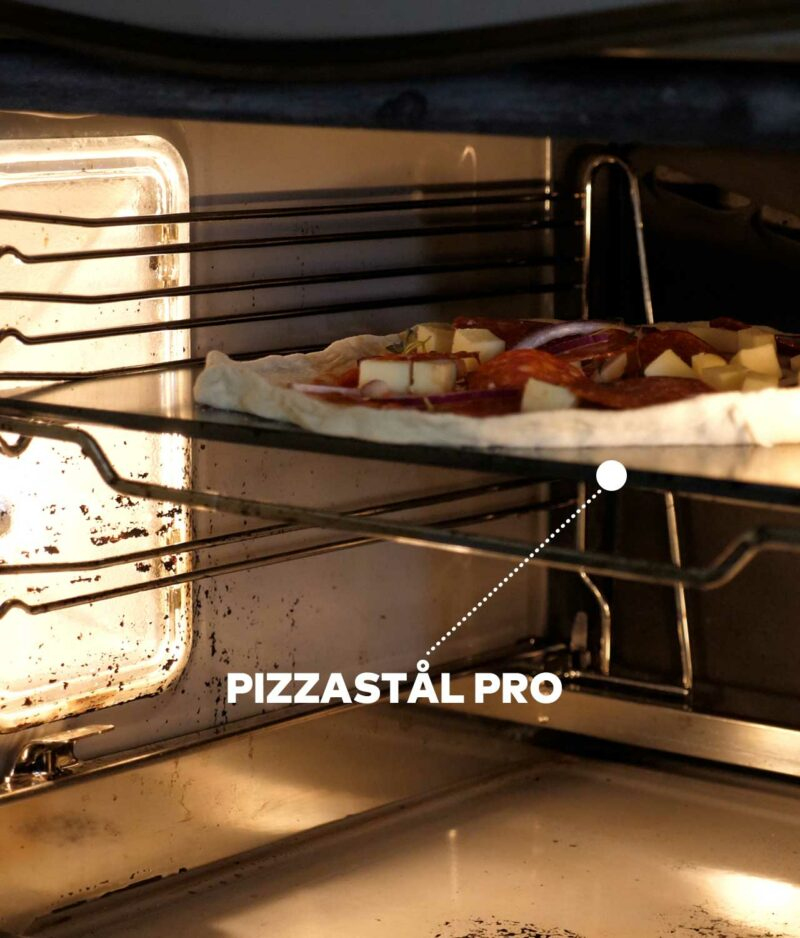 Pizzastål Pro 300 grader i vanlig stekeovn., Perfekt pizza.